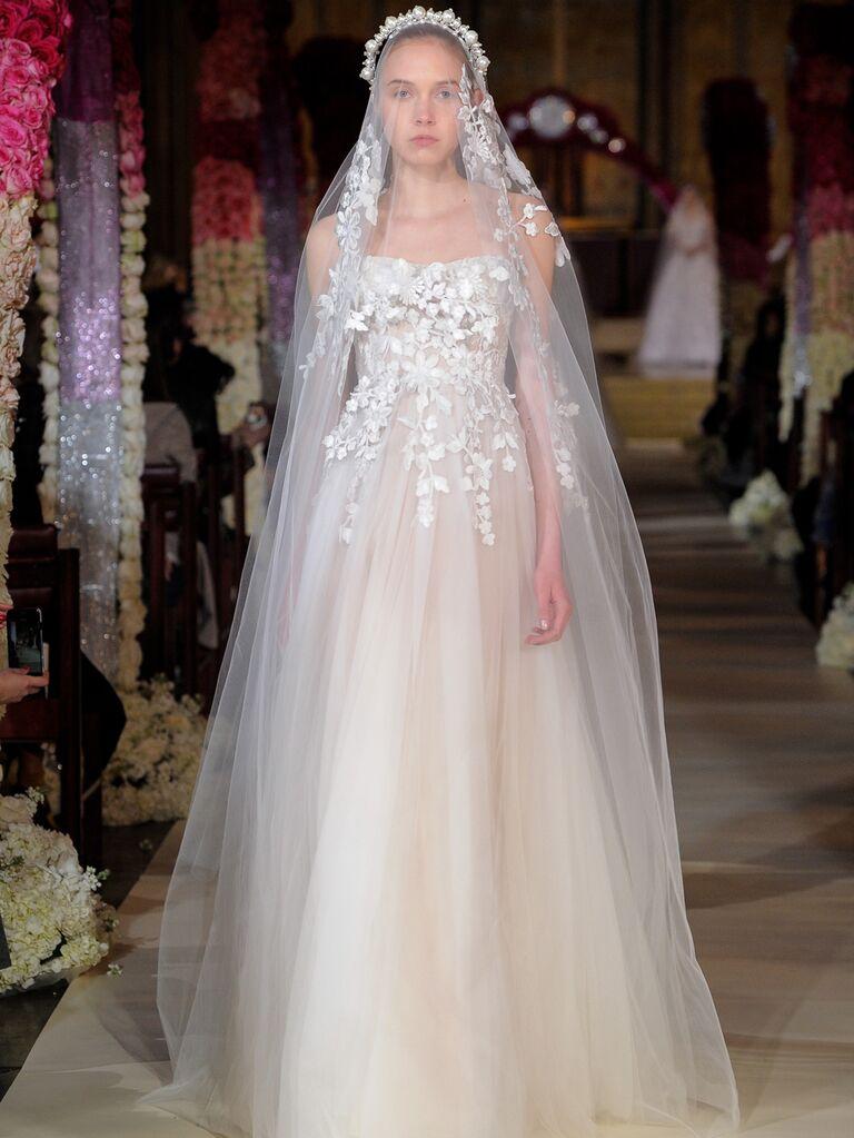 Reem Acra Spring 2020 Bridal Collection floral embellished A-line tulle dress