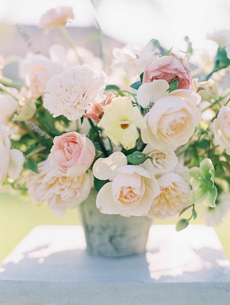 Lush centerpiece with pink roses