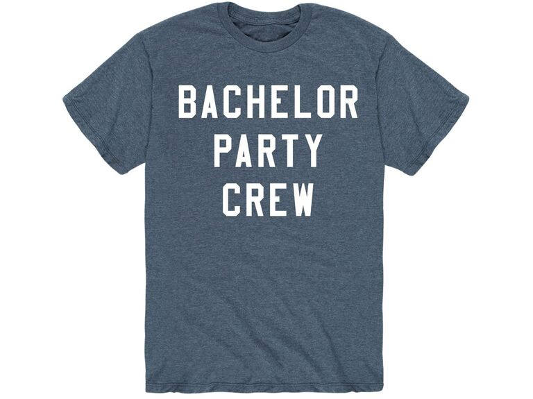 'Bachelor Party Crew' in white type on blue-gray tee