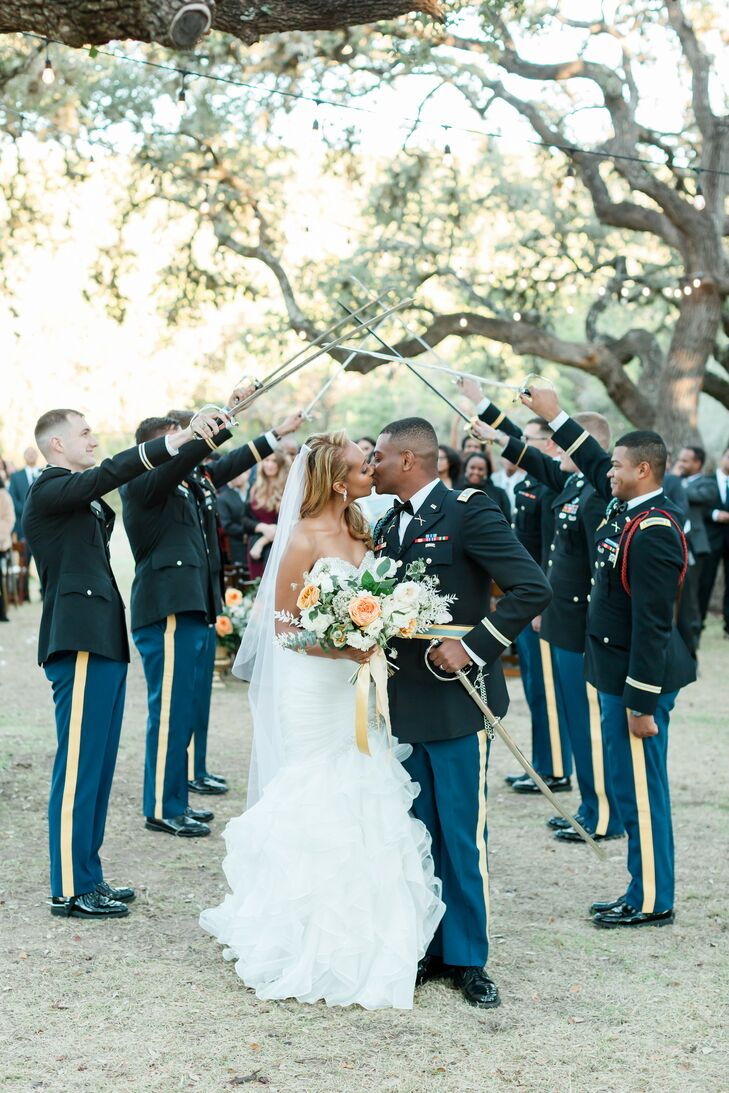 Military Saber Arch During Ceremony Recessional at The Ivory Oak in Wimberley, Texas