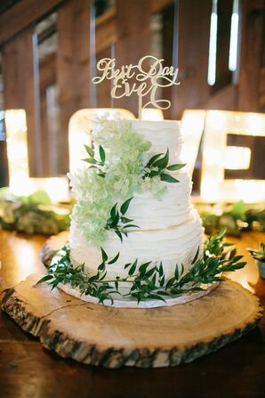 White Cake With Green Flowers