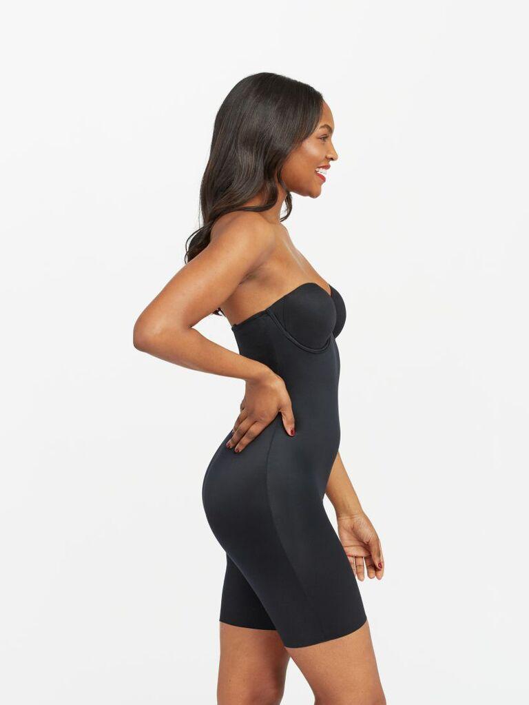 Black strapless bodysuit wedding undergarment