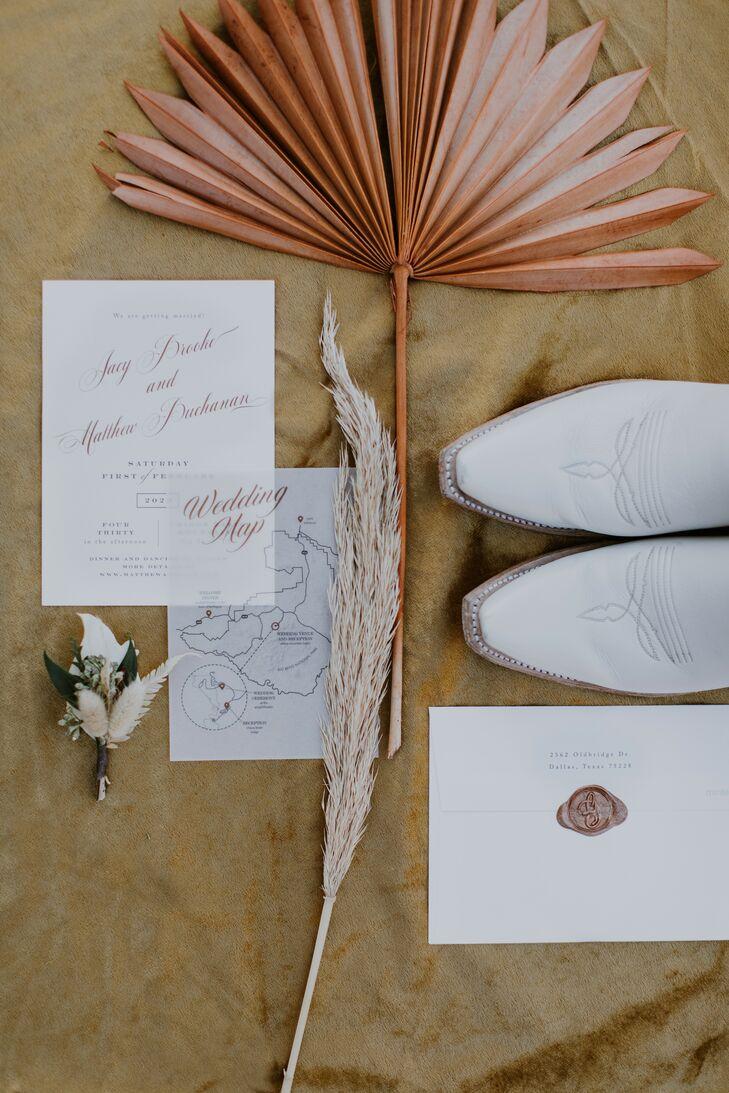 Rustic and Bohemian Wedding Invitation for Texas Wedding