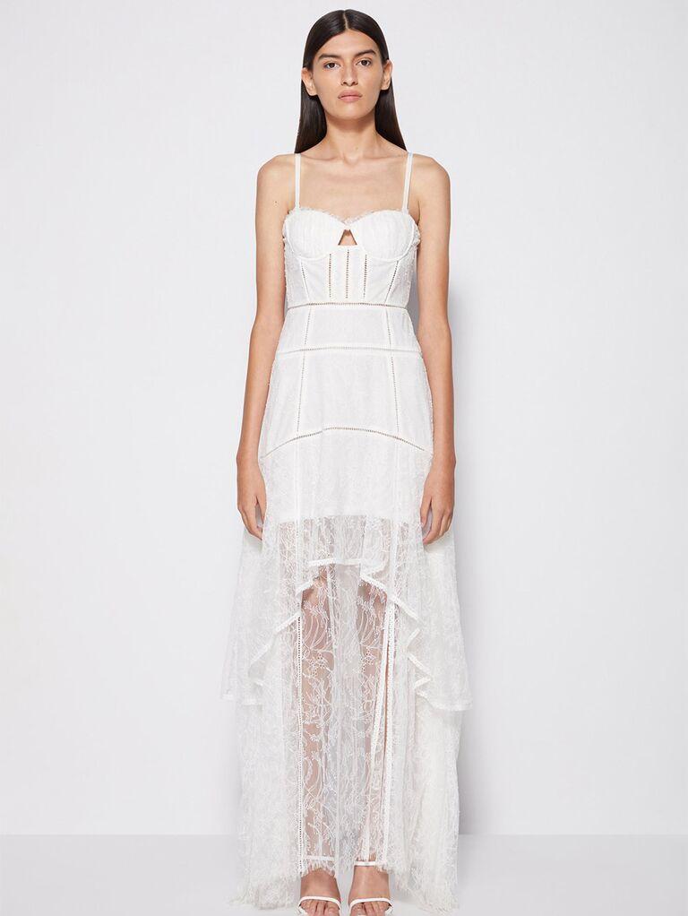 Nhìn xuyên thấu váy ren với vạt áo có cấu trúc và dây đai mì spaghetti váy cưới đẹp