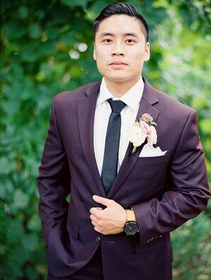 Groom in Purple Suit for Wedding at Machine Shop in Minneapolis, Minnesota