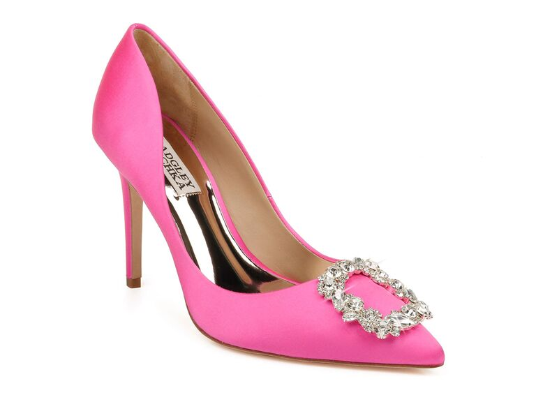 nordstrom pink badgley mischka mother of the groom heels with crystal buckle