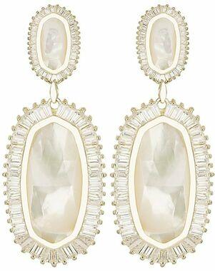 Kendra Scott Kaki Baguette Earrings in Ivory Pearl Wedding Earring photo