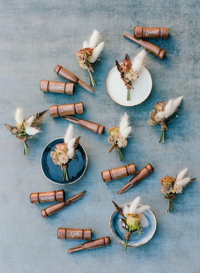 Calligraphed wood duck calls as groomsmen gifts