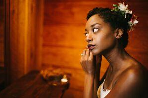 African-American Bride Getting Ready