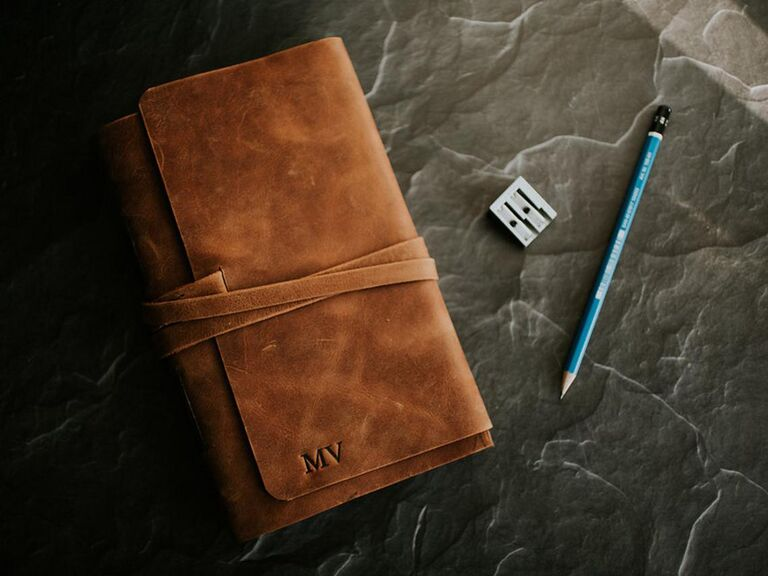 Personalized leather-bound journal mother-in-law gift