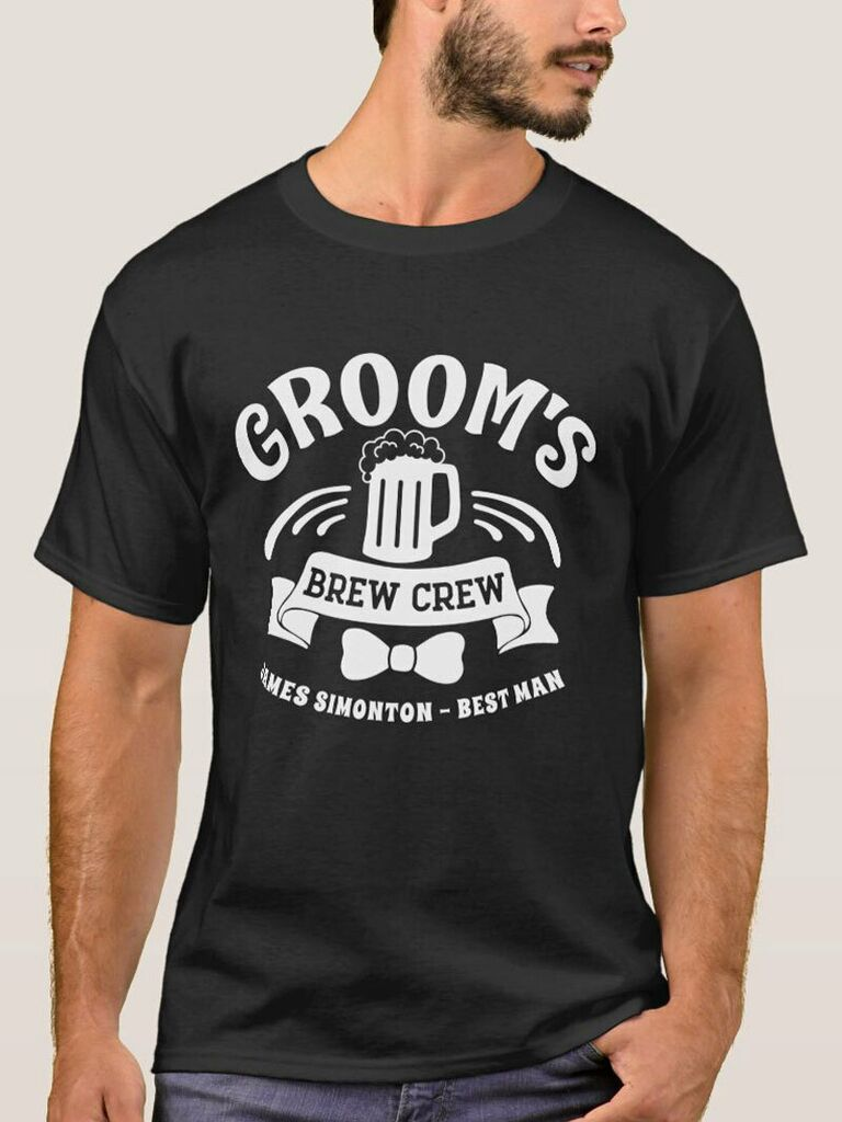 'Groom's Brew Crew' in white type with pint graphic on black tee