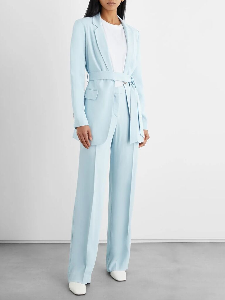 the outnet light blue twill mother of the bride pant suit with wide leg pants