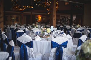 Navy Ribbon Reception Chair Accents