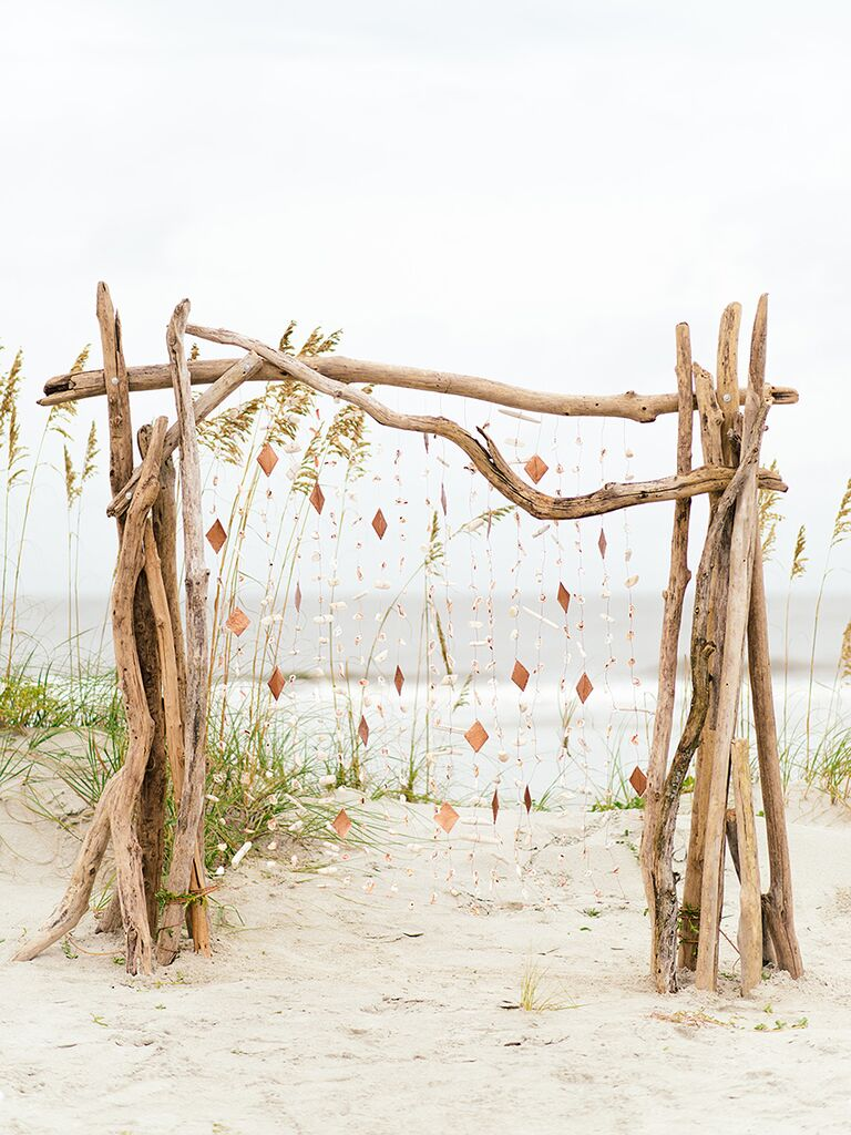 DIY beach wedding backdrop