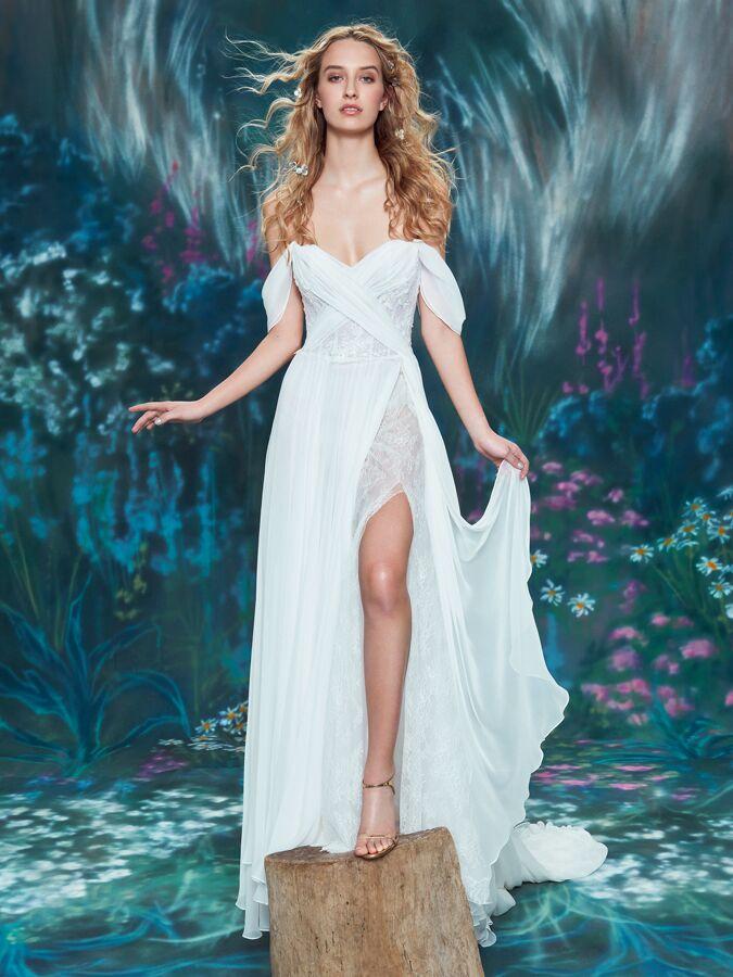 Ines Di Santo flowing Grecian wedding dress