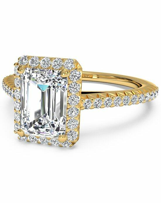Ritani Emerald Cut French-Set Halo Diamond Band Engagement Ring in 18kt Yellow Gold (0.21 CTW) Engagement Ring photo