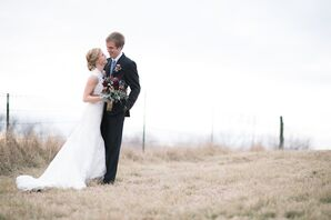 Bride and Groom at Christman Manor in Oskaloosa, Kansas