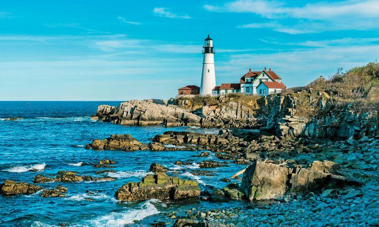 Coast of Maine with lighthouse