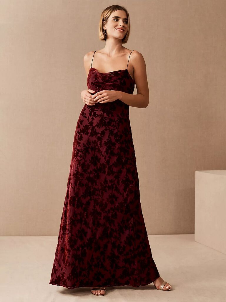 anthropologie bhldn red and black velvet wedding guest long dress with floral print and spaghetti straps