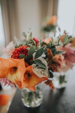 Orange Gladiolas with Rust-Red and Sage-Green Accents