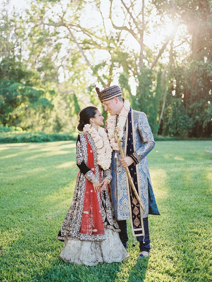 For their wedding celebration in Miami, Florida, Asha and Hugh wanted to incorporate their shared Hindu and Catholic beliefs. As such, the expansive g