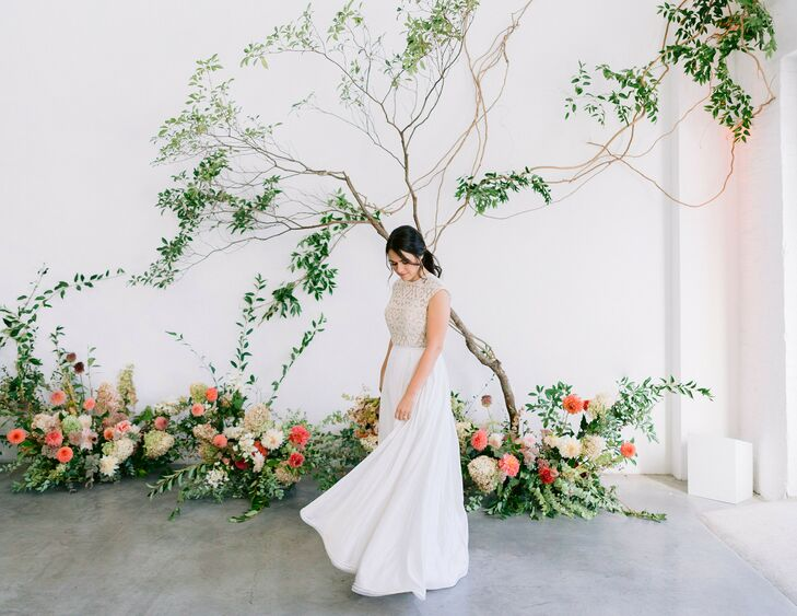 Bride Twirling in Wedding Dress at Sound River Studios in Long Island City, New York