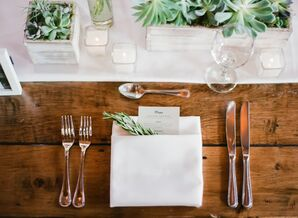 Succulent Centerpieces and Fresh Herb Sprigs
