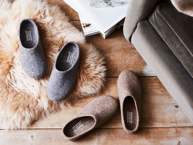Two pairs of wool house shoes 7 year anniversary present