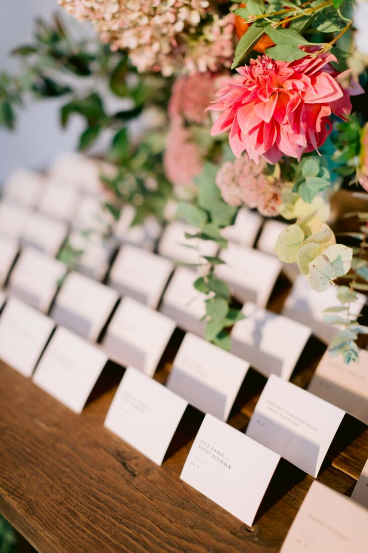 Escort Cards for Wedding at Sound River Studios in Long Island City, New York