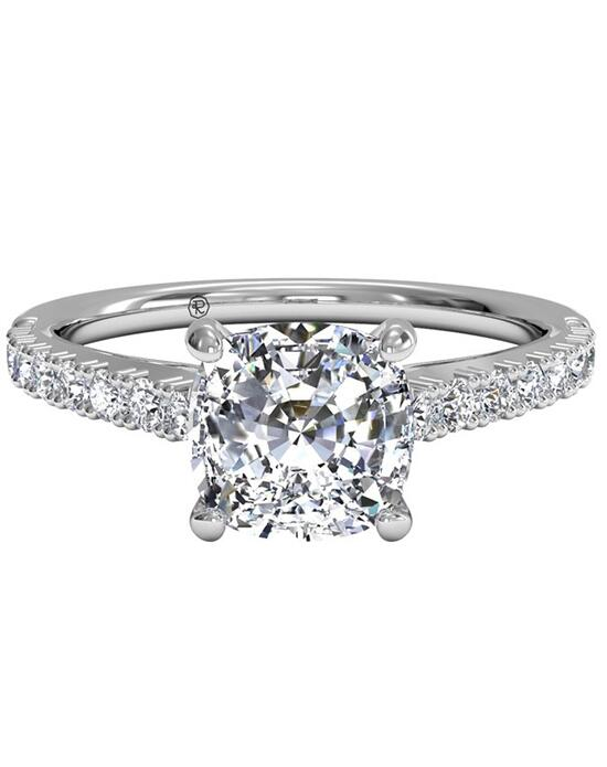 Ritani French-Set Diamond Band Engagement Ring - in 14kt White Gold (0.23 CTW) for a Cushion Center Stone Engagement Ring photo