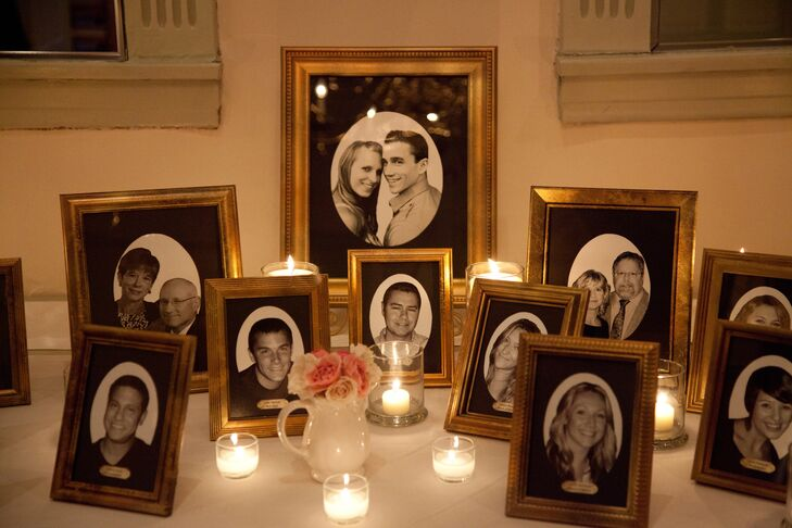 In lieu of programs, an antique gold frame outlined the ceremony and was accompanied with antique gold frames of black & white photographs of the bridal party.