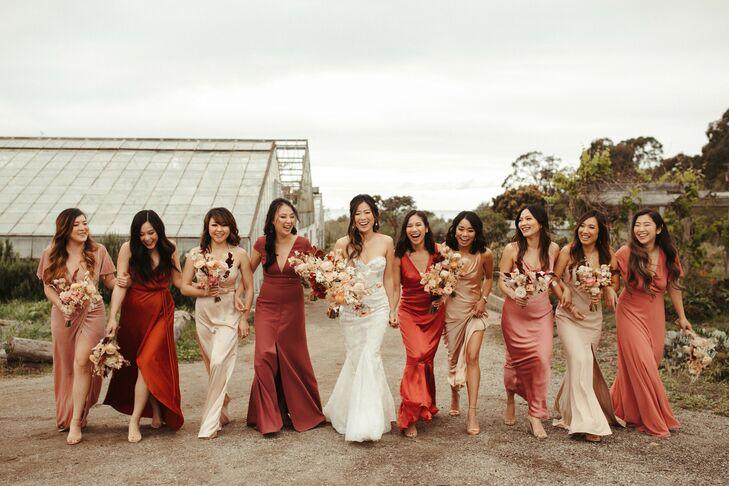 Bridesmaids in Shades of Pink and Red at Coastal California Wedding