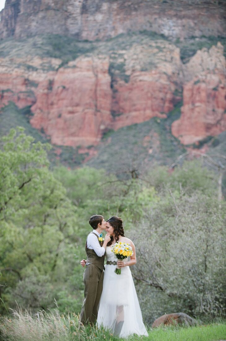 """Renee and Crissy got married at Segner Country Ranch Estate in Oak Creek Canyon. """"Once we saw it, we fell in love. The red rock backdrop of Sedona, Arizona was the most beautiful backdrop we could have wanted,"""" says the couple."""