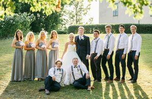 Preppy Gray and Black Wedding Party