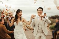 """For their wedding along the coast of California, Emily Ho and Calvin Cheng, """"wanted to create a night that felt romantic, dreamy, organic, lighthearte"""