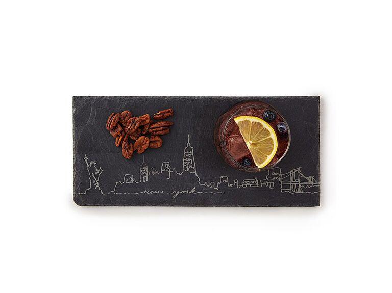 City skyline slate cheese board inexpensive bridesmaid gift