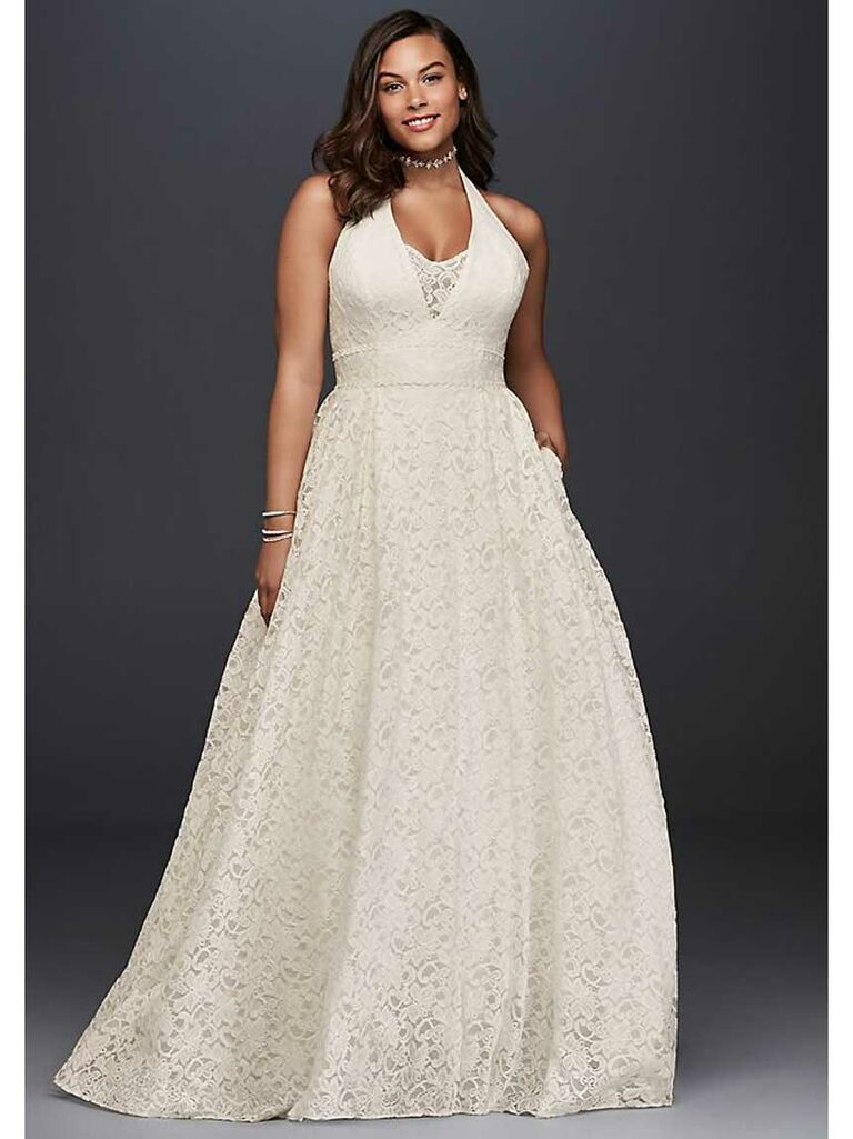 Simple plus-size beach wedding dress with halter top and lace skirt