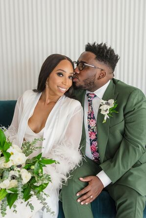 Couple Poses for Photo After Elopement Ceremony