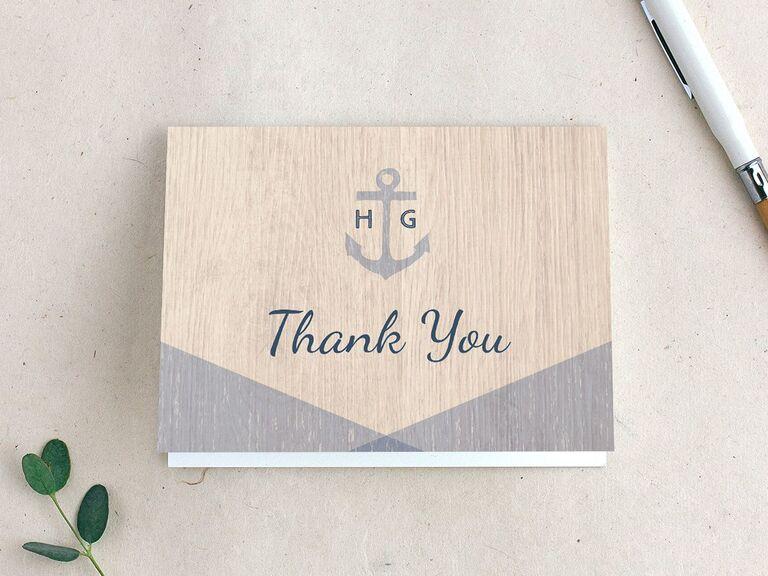 Nautical wedding shower thank-you card