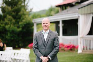 Gray Wedding Tuxedo and Mint Bow Tie