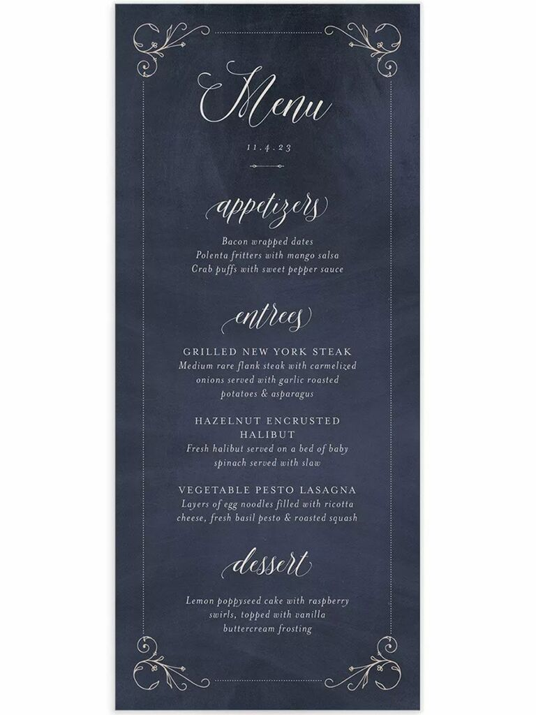 Gilded white border and menu items in white script on navy background