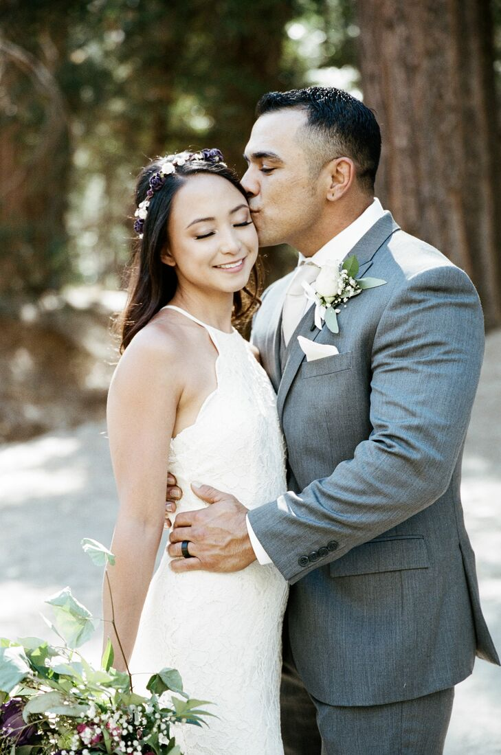 Michelle Quiambao (33 and a hairstylist) and Brett Spinks (33 and a marble mason) kept the vibe of their intimate wedding relaxed with bohemian touche