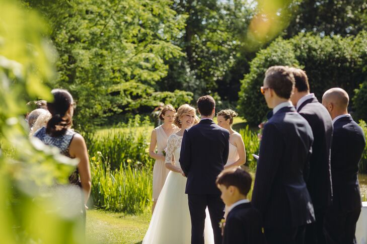 """The ceremony was held outdoors at Angavallen. The ceremony was more American,"""" Linda says. """"Our Swedish friends described it as 'very Hollywood.' """""""