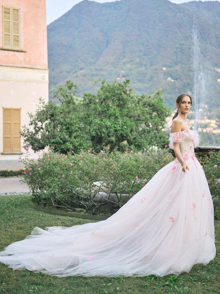monique lhuillier off-the-shoulder floral ballgown