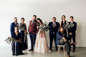 Boho Wedding Party in Navy, Burgundy and Black