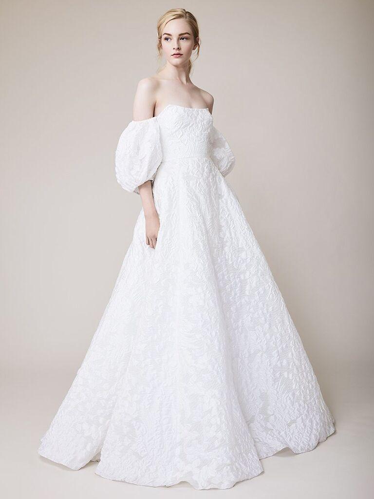 Váy cưới trễ vai lela hoa hồng trắng với tay áo có thể tháo rời ren và váy dạ hội xếp li váy cưới màu trắng đẹp