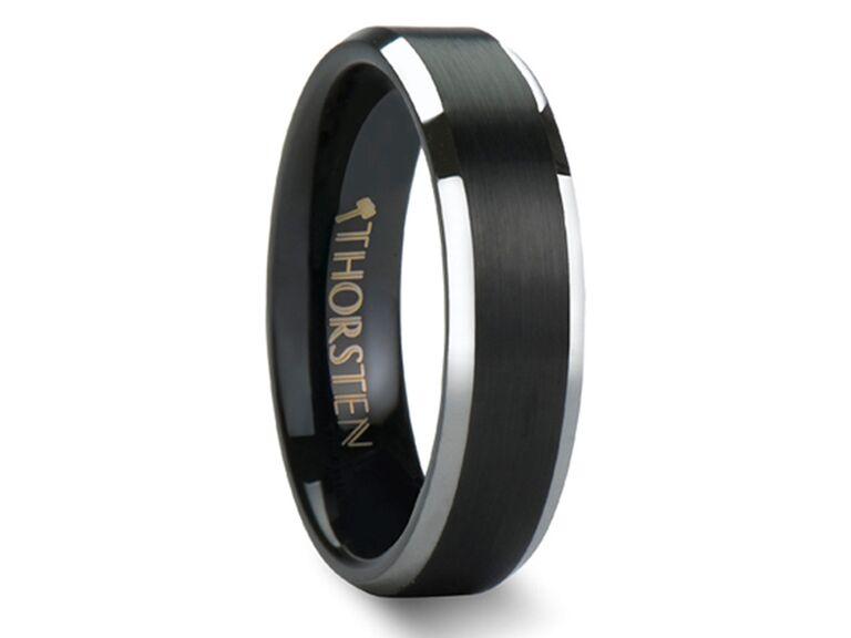Thorsten Aston black brushed center tungsten carbide ring with polished beveled edges