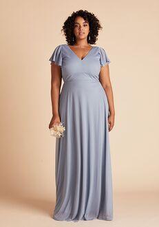 Birdy Grey Hannah Dress Curve in Dusty Blue V-Neck Bridesmaid Dress