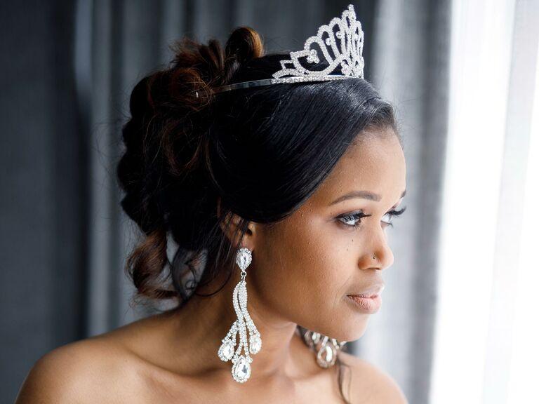 Loose updo with tiara