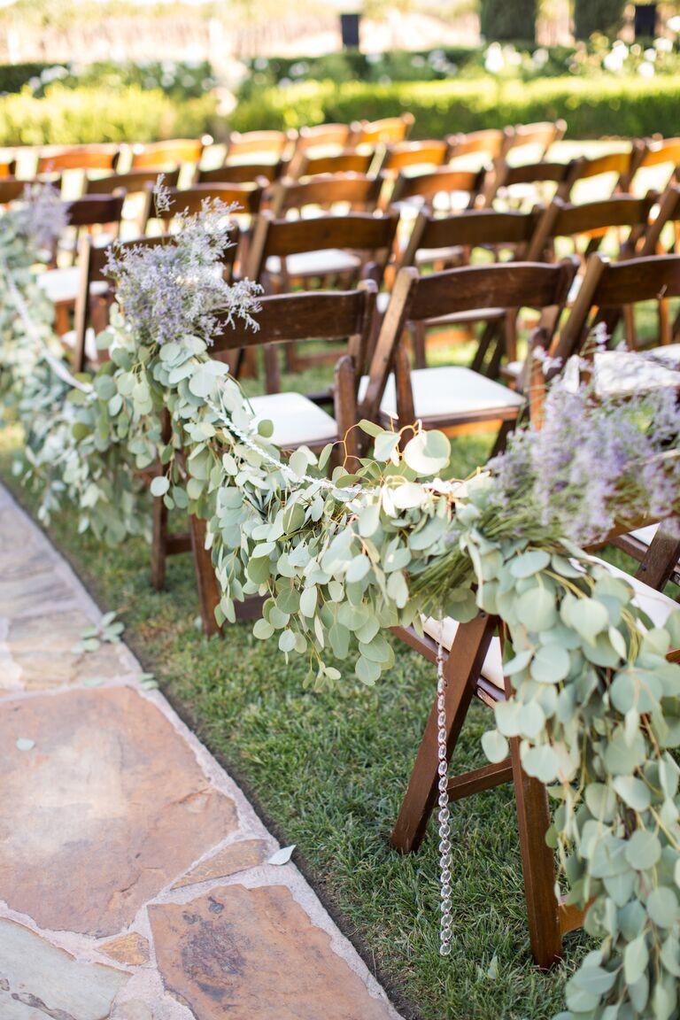 Green eucalyptus aisle garland